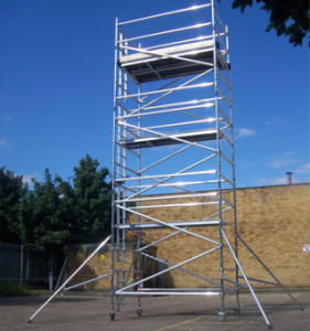 scaffodl tower to cemen t roof verge or gable end
